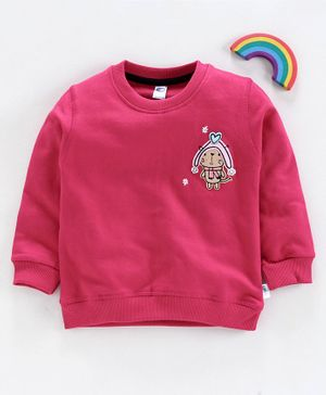 Teddy Full Sleeves Winter Wear T-Shirt Patch Design - Pink