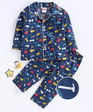 Babyhug Full Sleeves Night Suit Construction Vehicle Print - Navy Blue