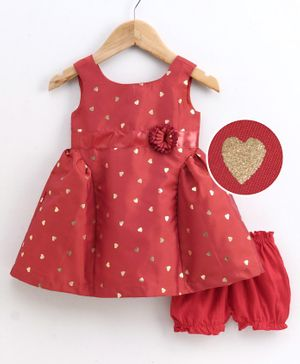 Babyoye Polyester Sleeveless Frock with Bloomer Heart Print - Red