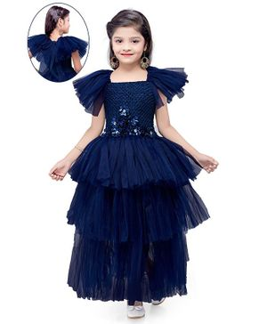 Pink Chick Short Sleeves Flowers Detailed Fit & Flared Layered Gown -Navy Blue