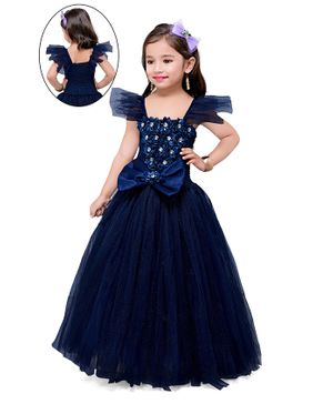 Pink Chick Short Sleeves Bow Flower Applique Fit & Flared Gown - Navy Blue