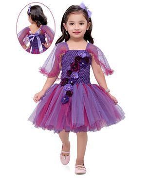 Pink Chick Half Sleeves Floral Applique Fit & Flared Net Dress - Purple
