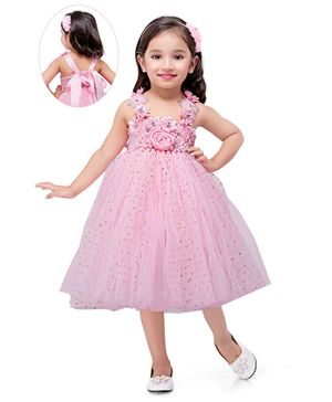 Pink Chick Sleeveless Flower Applique Sparkle Flared Netted  Dress - Pink
