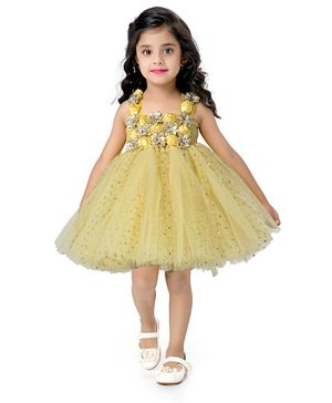 Pink Chick Sleeveless Rose Applique Sparkle Flared Netted Dress - Yellow