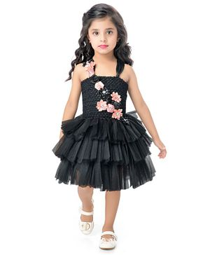 Pink Chick Sleeveless Floral Applique Layered Netted Dress -Black