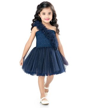 Pink Chick Sleeveless Ruffled Fit & Flared Dress - Navy Blue