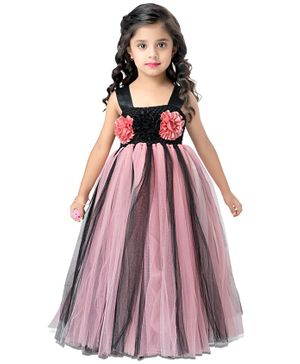 Pink Chick Sleeveless Flower Design Flared Netted Gown  - Peach & Black