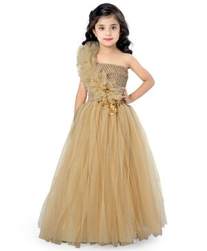 Pink Chick Sleeveless Ruffled Flower Applique Fit & Flared Netted Gown - Gold