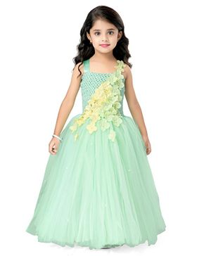 Pink Chick Sleeveless Flower Applique Fit & Flared Netted Gown - Pista