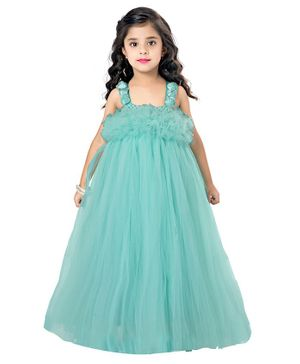 Pink Chick Sleeveless Ruffled Flared Netted Gown - Aqua