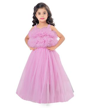 Pink Chick Sleeveless Ruffled Pearl Detailed Flared Netted Gown  - Pink