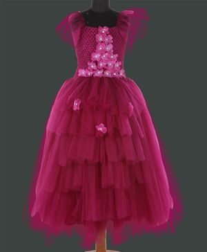 Pink Chick Short Sleeves Floral Applique Fit & Flared High Low Layered Gown  - Burgandy