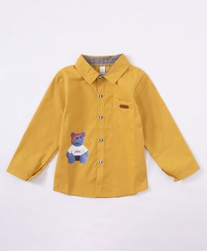 Kookie Kids Full Sleeves Shirt Teddy Print - Mustard Yellow