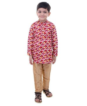Stylo Bug Full Sleeves Hand Block Printed Kurta With Pajama - Red