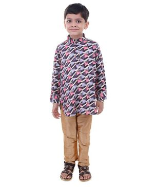 Stylo Bug Full Sleeves Hand Block Printed Kurta With Pajama - Pink
