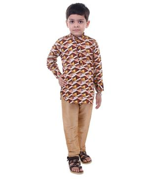 Stylo Bug Full Sleeves Hand Block Printed Kurta With Pajama - Brown