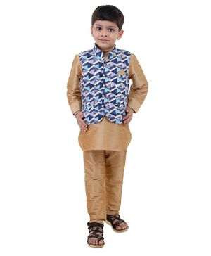 Stylo Bug Full Sleeves Kurta With Hand Block Printed Jacket & Pajama - Blue