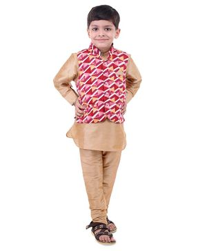 Stylo Bug Full Sleeves Kurta With Hand Block Printed Jacket & Pajama - Red