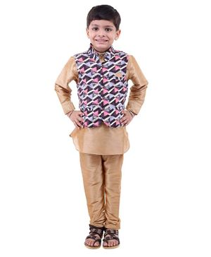 Stylo Bug Full Sleeves Kurta With Hand Block Printed Jacket & Pajama - Pink