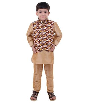 Stylo Bug Full Sleeves Kurta With Hand Block Printed Jacket & Pajama - Brown