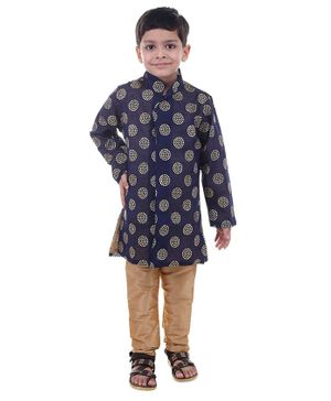 Stylo Bug Full Sleeves Hand Block Printed Kurta With Pajama - Blue