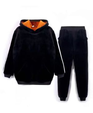 Kookie Kids Full Sleeves Hooded Sweatshirt & Lounge Pant Set - Black