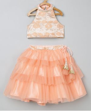 Tutus By Tutu Sleeveless Flower Design Top & Flared Netted Skirt Set  - Peach