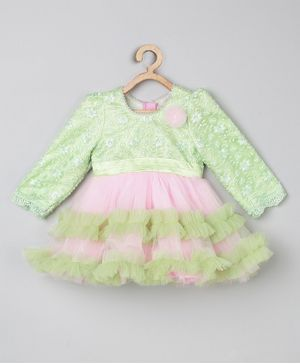 Tutus By Tutu Full Sleeves Flower Embroidered Flared Layered Dress - Green & Pink