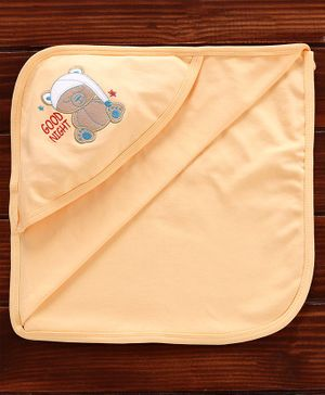 Simply Hooded Towel Bear Embroidered - Light Orange