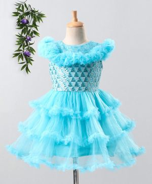The KidShop Sequined Cap Sleeves Tulle Flare Dress - Blue
