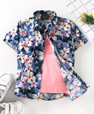 Rikidoos Half Sleeves Flowers Printed Shirt With Attach T-Shirt - Blue