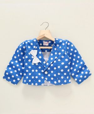 Rassha Polka Dot Print Full Sleeves Blazer - Blue