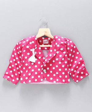 Rassha Full Sleeves Polka Dot Printed Shrug - Pink