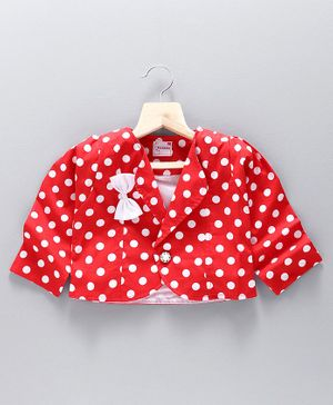 Rassha Full Sleeves Polka Dot Printed Shrug - Red