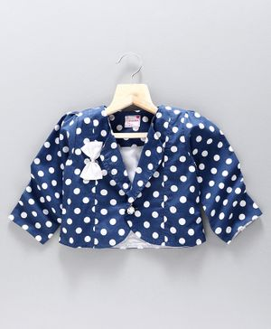 Rassha Full Sleeves Polka Dot Printed Shrug - Navy Blue
