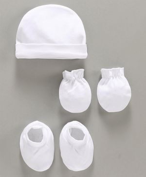 Babyhug 100% Cotton Solid Cap Mittens and Booties Set - White