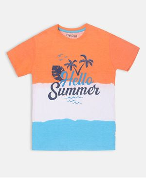 Li'L tomatoes Palm Tree Print Half Sleeves Tee With 3 Ply Face Mask - Orange
