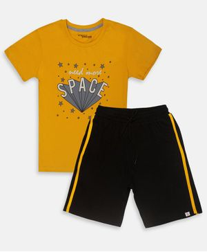 Li'L tomatoes Half Sleeves Need More Space Print Night Suit With 3 Ply Face Mask - Yellow