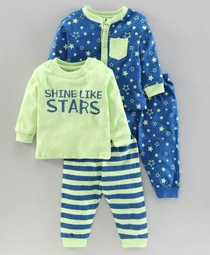 Babyoye Full Sleeves Night Suits Pack of 2 - Green Blue