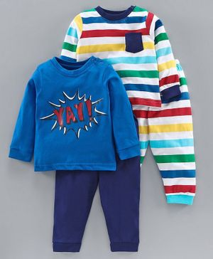 Babyoye Cotton Full Sleeves Night Suits Pack of 2 - Blue Multicolour