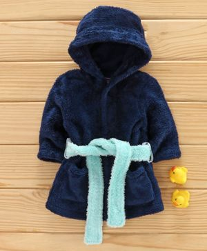 Babyhug Full Sleeves Hooded Solid Velour Bathrobe - Navy Blue