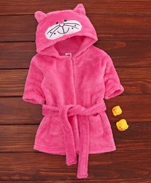Babyhug Full Sleeves Hooded Bathrobe Kitty Embroidery- Pink