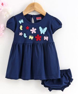 Babyhug Short Sleeves Frock with Bloomer Butterfly Patch - Navy Blue