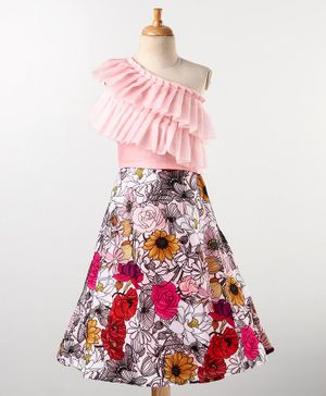 Varsha Showering Trends Floral Printed Lehenga With Two Layered Sleeveless Organza Pleated Off Shoulder Crop Top - Pink