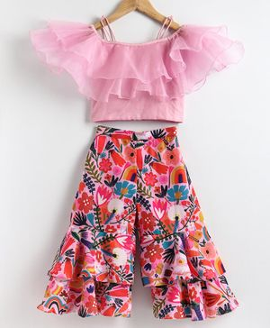 Varsha Showering Trends Frilled Short Sleeves Crop Top With Floral Print Palazzo Pants - Pink