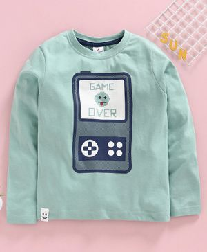 Ollypop Full Sleeves Tee Game Over Print - Green