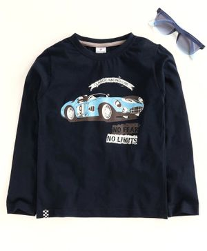 Ollypop Full Sleeves Tee Car Print - Navy