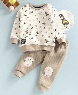 Ollypop Full Sleeves Sweatshirt and Pant Set Mountain Print - Cream Beige