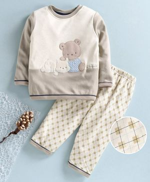 First Smile Full Sleeves Winter Wear Night Suit Teddy Embroidery -Beige