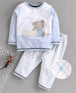First Smile Full Sleeves Winter Wear Night Suit Teddy Embroidery - Blue
